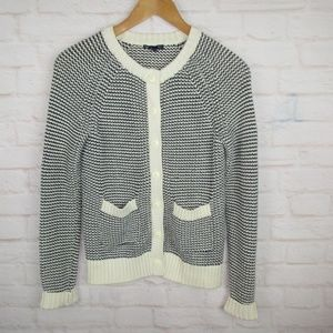 Gap Navy and White Crew Neck Knit Cardigan